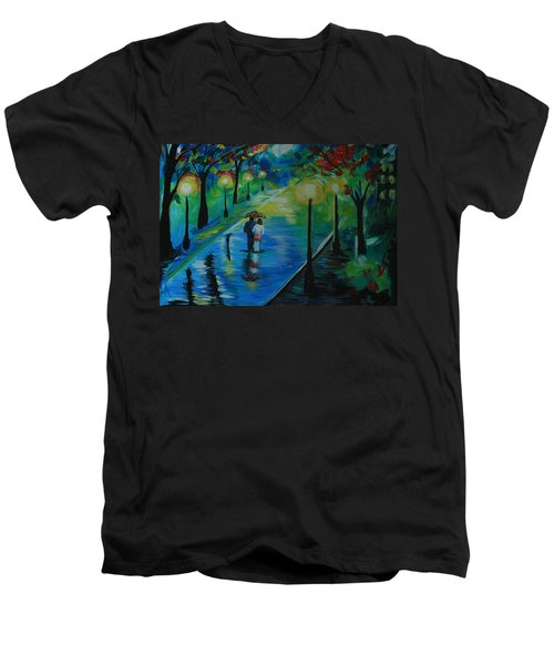 Men's V-Neck T-Shirt featuring the painting Moonlight Stroll by Leslie Allen
