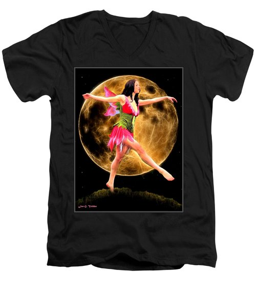 Moonlight Stroll Of A Fairy Men's V-Neck T-Shirt