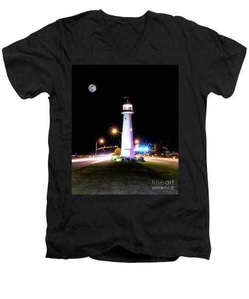 Moonlit Gulf Coast Lighthouse Seascape Biloxi Ms 4256b Men's V-Neck T-Shirt