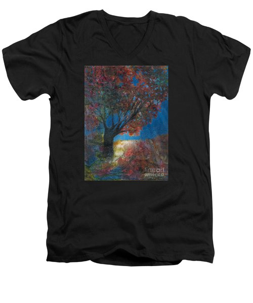 Moonlit Tree Men's V-Neck T-Shirt by Denise Hoag