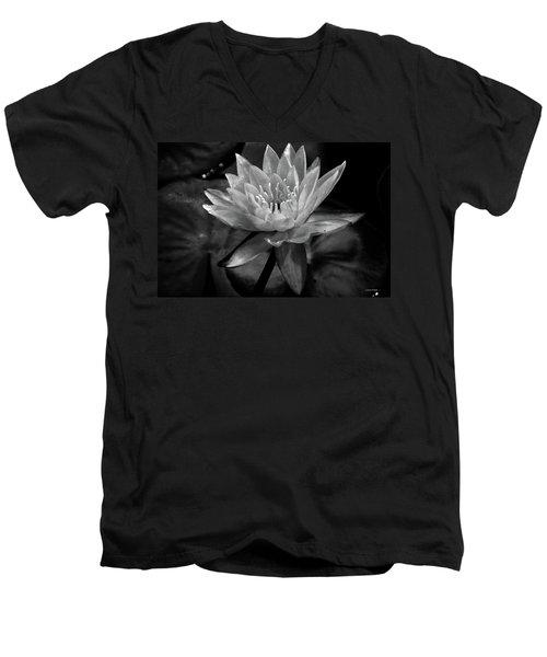 Moonlit Water Lily Bw Men's V-Neck T-Shirt
