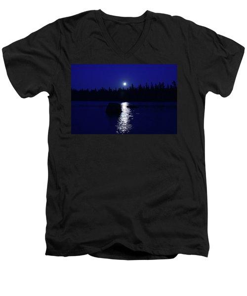 Moonrise On A Midsummer's Night Men's V-Neck T-Shirt by David Porteus