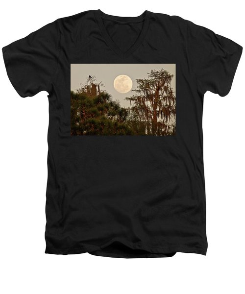 Moonrise Over Southern Pines Men's V-Neck T-Shirt