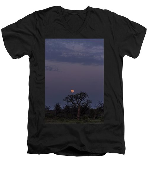 Men's V-Neck T-Shirt featuring the photograph Moonrise With Baobab And Octopus Trees by Alex Lapidus