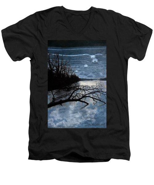 Moons Men's V-Neck T-Shirt by Joan Ladendorf