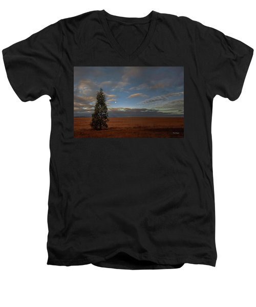 Moonset  In A Large Morning Sky Men's V-Neck T-Shirt