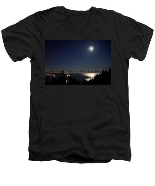 Moonshine Over English Bay Men's V-Neck T-Shirt