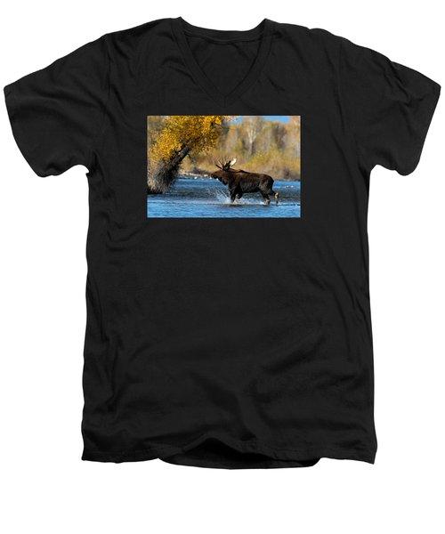 Moose Crossing Men's V-Neck T-Shirt