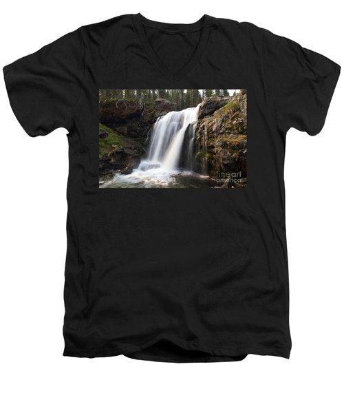 Moose Falls Yellowstone National Park Men's V-Neck T-Shirt