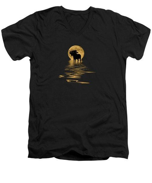 Moose In The Moonlight Men's V-Neck T-Shirt