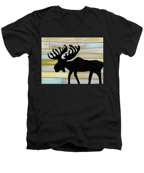 Men's V-Neck T-Shirt featuring the digital art Moose by Paula Brown