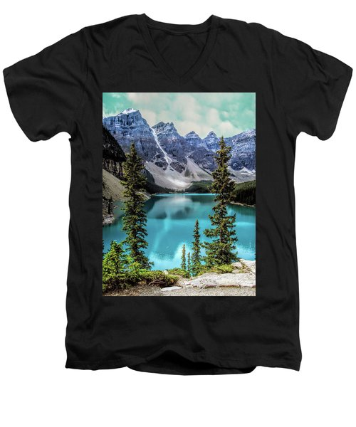 Moraine Lake Men's V-Neck T-Shirt by Lynn Bolt