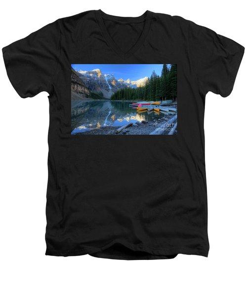 Moraine Lake Sunrise Blue Skies Canoes Men's V-Neck T-Shirt