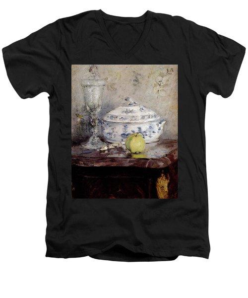 Morisot Berthe Tureen And Apple Men's V-Neck T-Shirt by Berthe Morisot