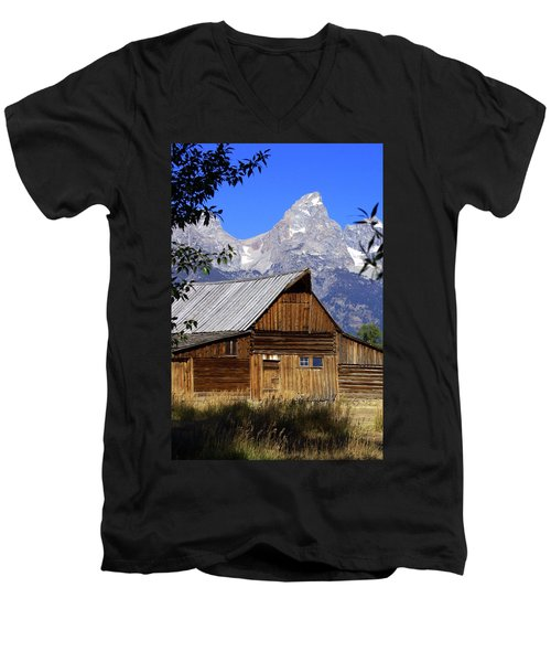 Mormon Row Barn  1 Men's V-Neck T-Shirt