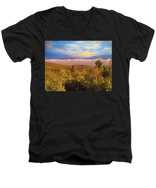 Morning Autumn Landscape Northern New Hampshire Men's V-Neck T-Shirt