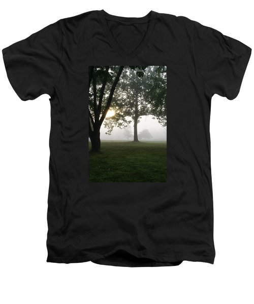 Men's V-Neck T-Shirt featuring the photograph Morning Fog by Heidi Poulin