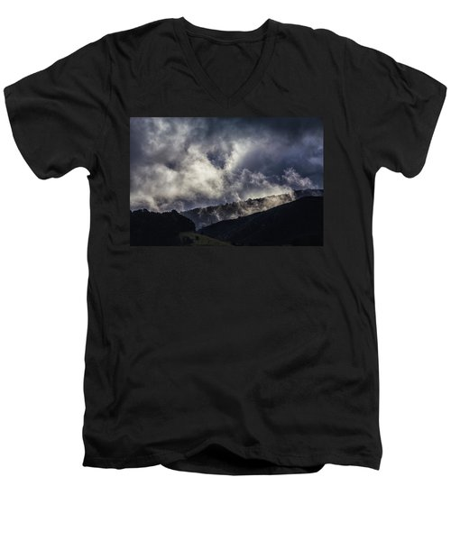 Morning Fog,mist And Cloud On The Moutain By The Sea In Californ Men's V-Neck T-Shirt by Jingjits Photography