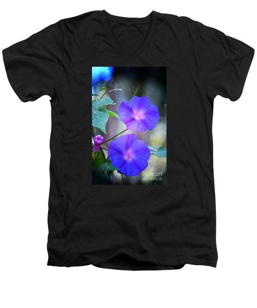 Morning Glory Men's V-Neck T-Shirt by Kathy Baccari