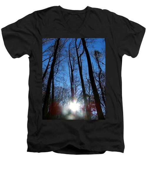 Morning In The Mountains Men's V-Neck T-Shirt by Robert Meanor