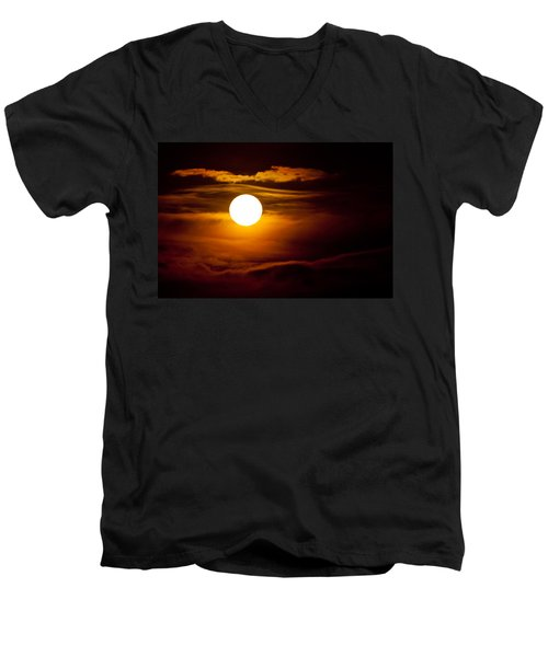 Men's V-Neck T-Shirt featuring the photograph Morning Moonset by Colleen Coccia