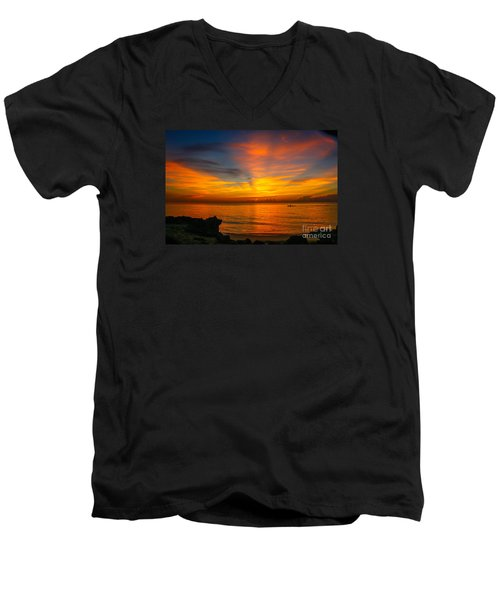 Morning On The Water Men's V-Neck T-Shirt by Tom Claud