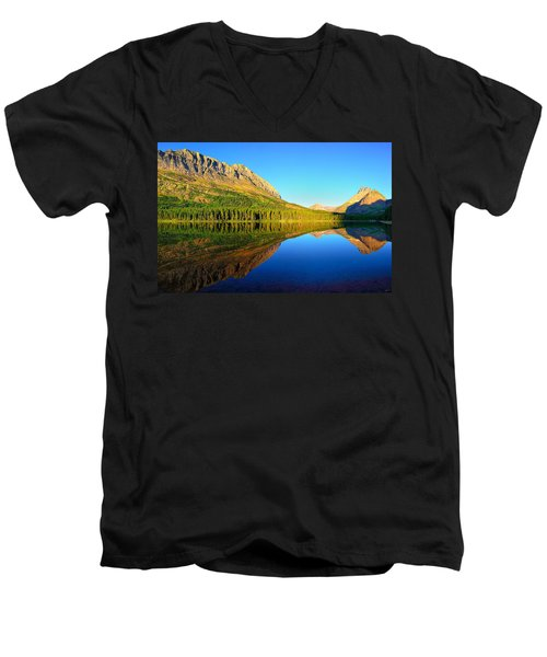 Morning Reflections At Fishercap Lake Men's V-Neck T-Shirt by Greg Norrell