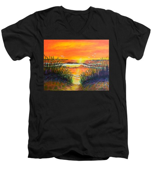 Men's V-Neck T-Shirt featuring the painting Morning Sun by Melvin Turner