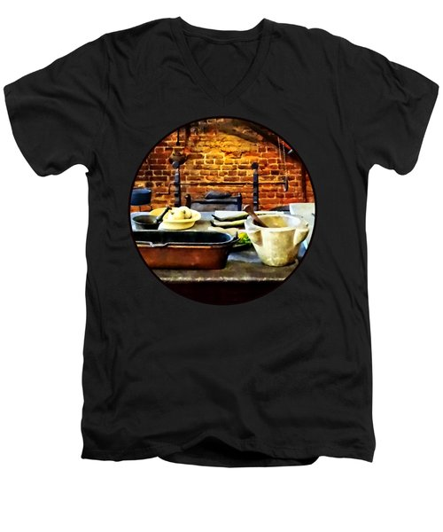 Mortar And Pestles In Colonial Kitchen Men's V-Neck T-Shirt by Susan Savad