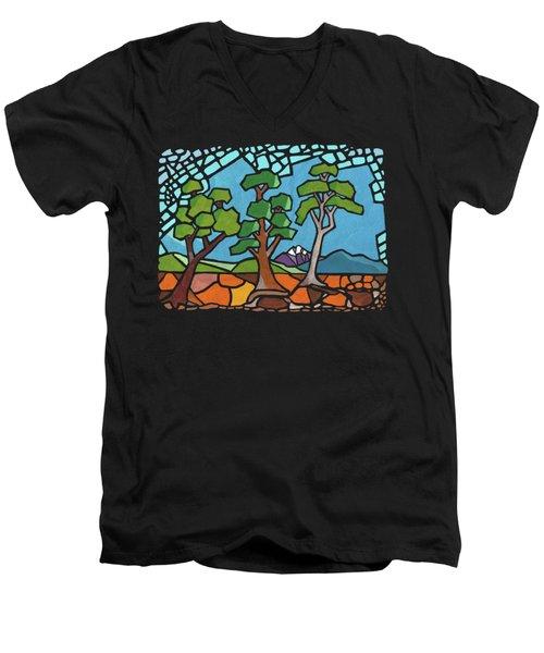 Mosaic Trees Men's V-Neck T-Shirt by Anthony Mwangi