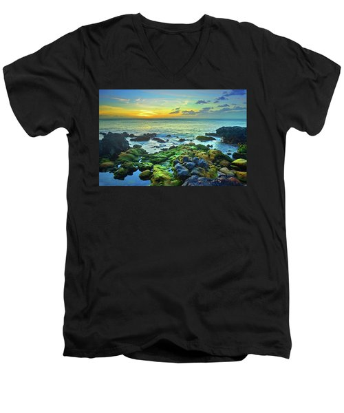 Men's V-Neck T-Shirt featuring the photograph Moss Covered Rocks At Sunset In Molokai by Tara Turner