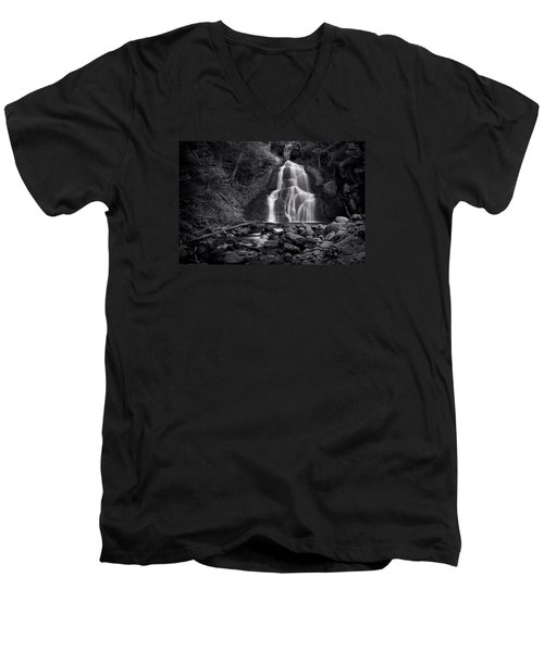 Men's V-Neck T-Shirt featuring the photograph Moss Glen Falls - Monochrome by Stephen Stookey