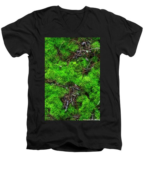 Men's V-Neck T-Shirt featuring the photograph Moss On The Hillside by Mike Eingle