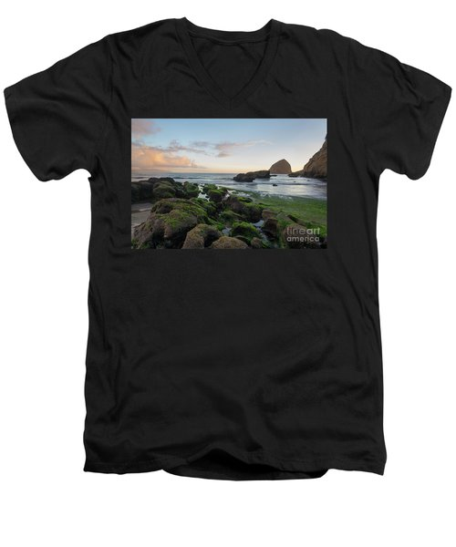 Mossy Rocks At The Beach Men's V-Neck T-Shirt