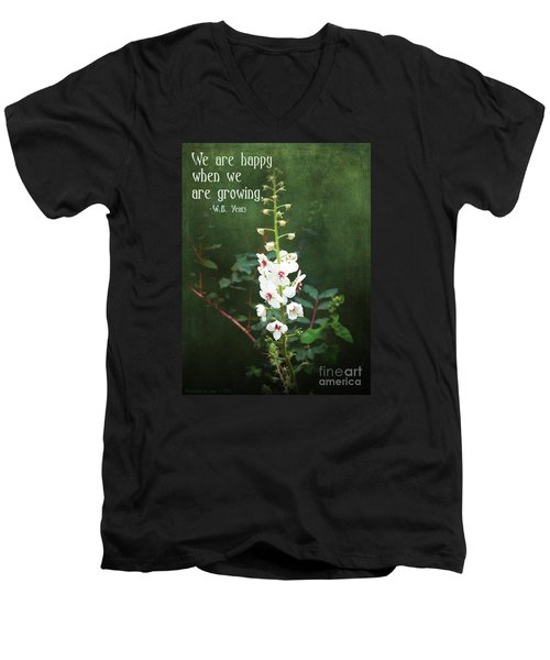 Men's V-Neck T-Shirt featuring the photograph Moth Mullein by Gena Weiser