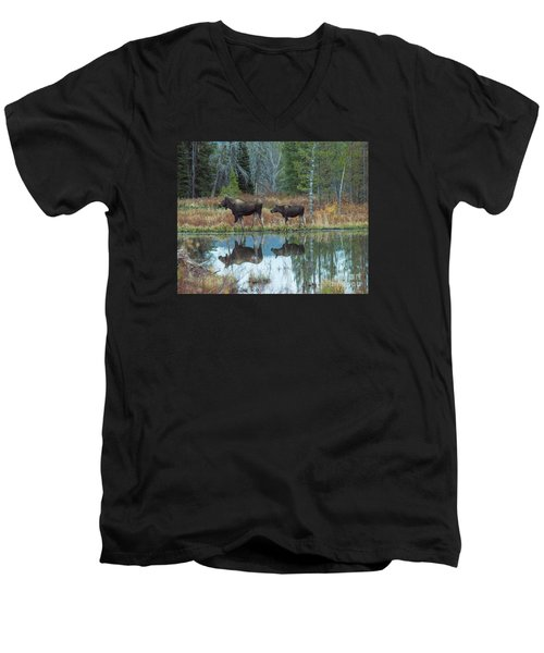Men's V-Neck T-Shirt featuring the photograph Mother And Baby Moose Reflection by Rebecca Margraf