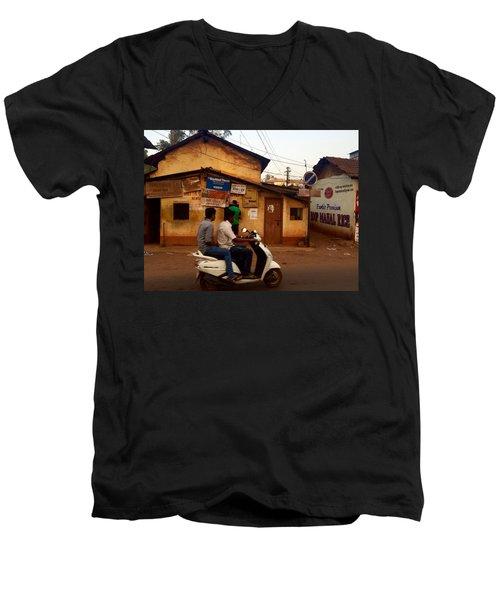 Motorbike Crossing Goa Times Newstand Men's V-Neck T-Shirt by Funkpix Photo Hunter