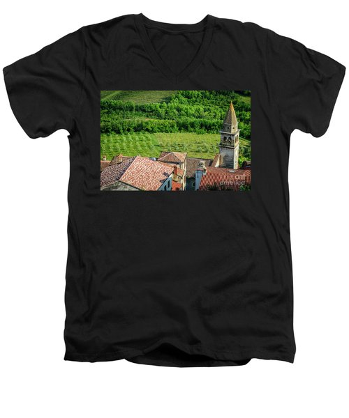 Motovun Istrian Hill Town - A View From The Ramparts, Istria, Croatia Men's V-Neck T-Shirt