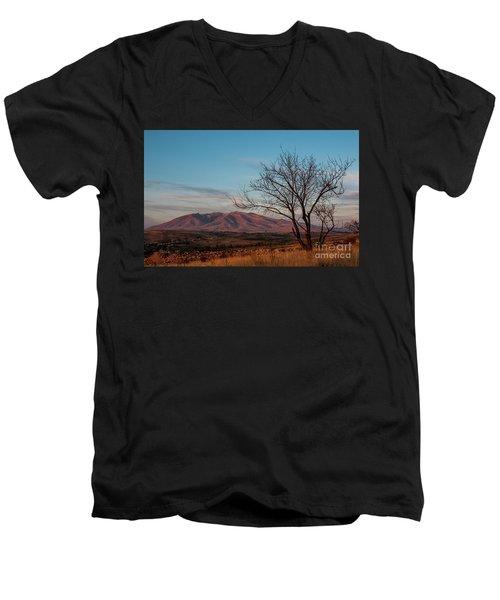 Mount Ara At Sunset With Dead Tree In Front, Armenia Men's V-Neck T-Shirt by Gurgen Bakhshetsyan