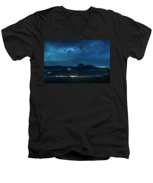 Mount Bromo Resting Under Million Stars Men's V-Neck T-Shirt