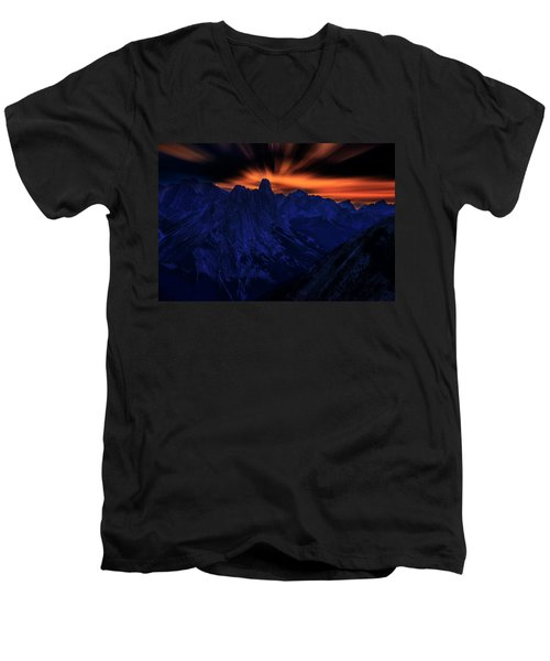 Men's V-Neck T-Shirt featuring the photograph Mount Doom by John Poon