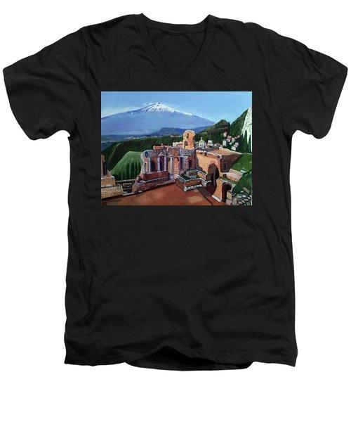 Mount Etna And Greek Theater In Taormina Sicily Men's V-Neck T-Shirt