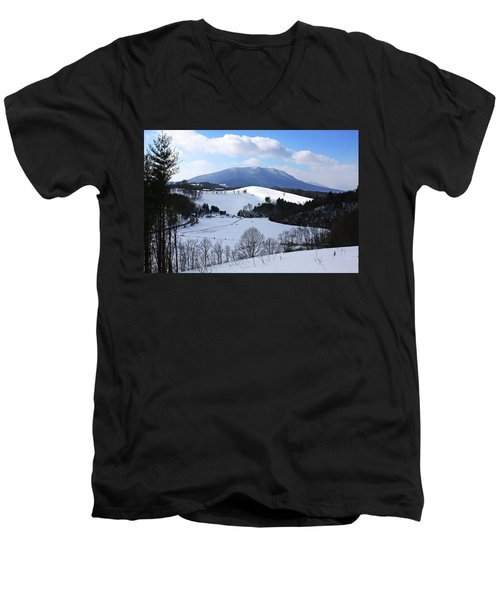Mount Jefferson Winter Men's V-Neck T-Shirt by Dale R Carlson