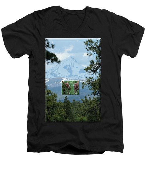 Mount Jefferson With Pines Men's V-Neck T-Shirt