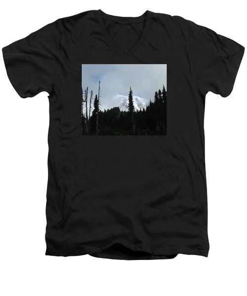 Men's V-Neck T-Shirt featuring the photograph Mount Rainier by Tony Mathews