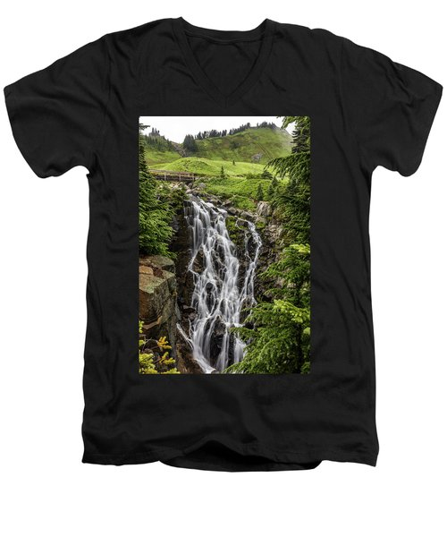 Men's V-Neck T-Shirt featuring the photograph Mount Rainier's Myrtle Falls by Pierre Leclerc Photography