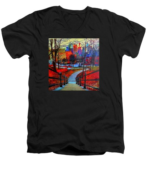 Men's V-Neck T-Shirt featuring the painting Mount Royal Peel's Exit by Marie-Line Vasseur