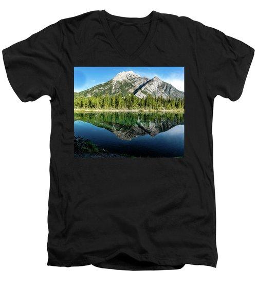 Mount Skogan Reflected In Mount Lorette Ponds, Bow Valley Provin Men's V-Neck T-Shirt