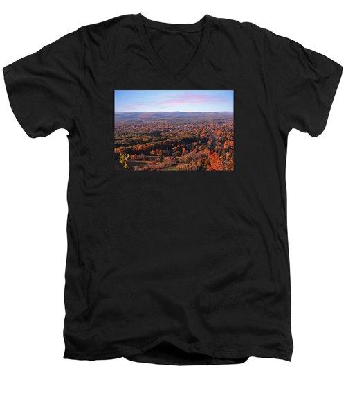 Mount Tom View, Easthampton, Ma Men's V-Neck T-Shirt