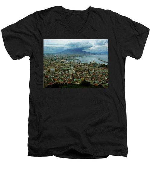 Mount Vesuvius Naples It Men's V-Neck T-Shirt